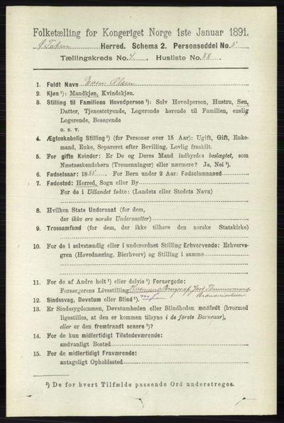 Image from object titled Folketelling 1891 - Østre Toten - personsedler - side 2903
