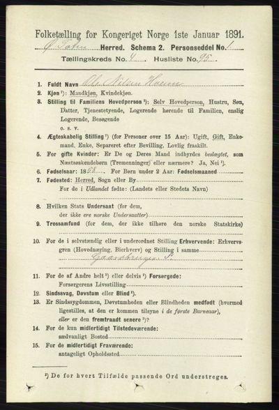 Image from object titled Folketelling 1891 - Østre Toten - personsedler - side 2951