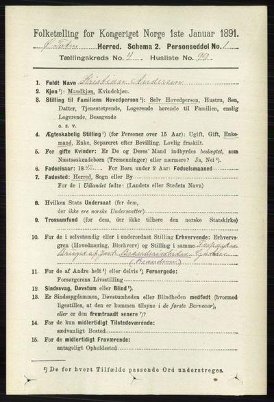 Image from object titled Folketelling 1891 - Østre Toten - personsedler - side 2977