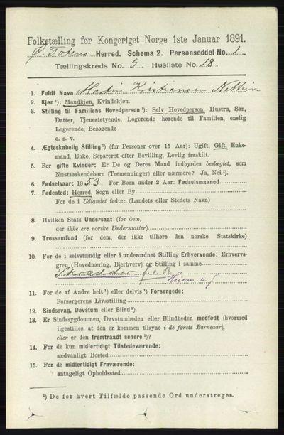 Image from object titled Folketelling 1891 - Østre Toten - personsedler - side 3276