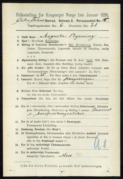 Image from object titled Folketelling 1891 - Østre Toten - personsedler - side 3900