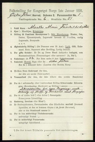 Image from object titled Folketelling 1891 - Østre Toten - personsedler - side 4097