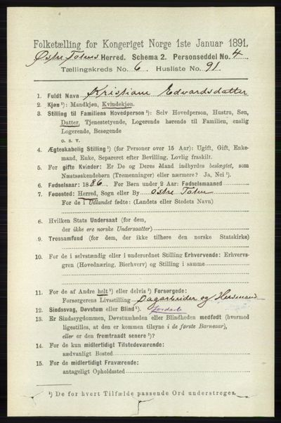 Image from object titled Folketelling 1891 - Østre Toten - personsedler - side 4316