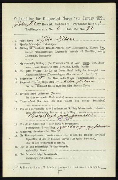 Image from object titled Folketelling 1891 - Østre Toten - personsedler - side 4321