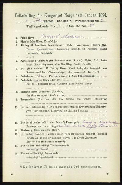 Image from object titled Folketelling 1891 - Østre Toten - personsedler - side 4564