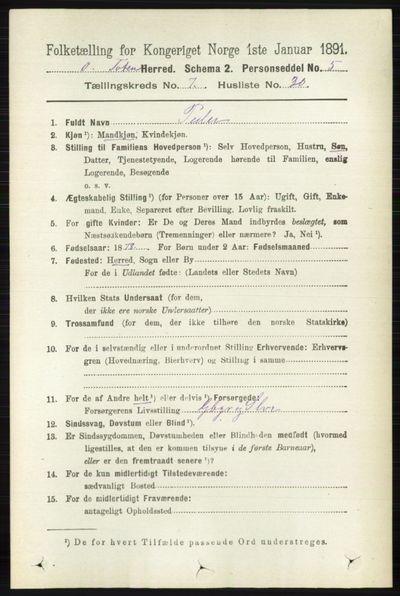 Image from object titled Folketelling 1891 - Østre Toten - personsedler - side 4598