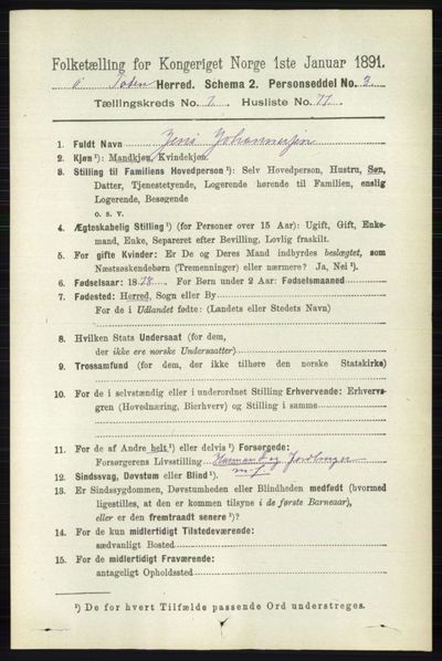 Image from object titled Folketelling 1891 - Østre Toten - personsedler - side 4882