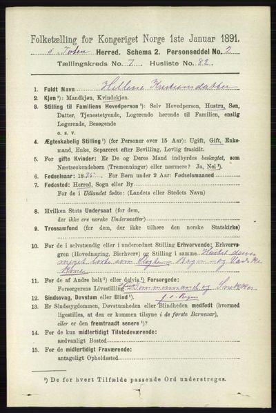 Image from object titled Folketelling 1891 - Østre Toten - personsedler - side 4911