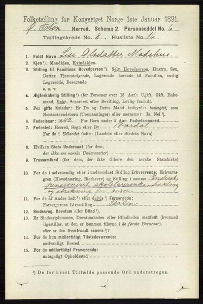 Image from object titled Folketelling 1891 - Østre Toten - personsedler - side 5098