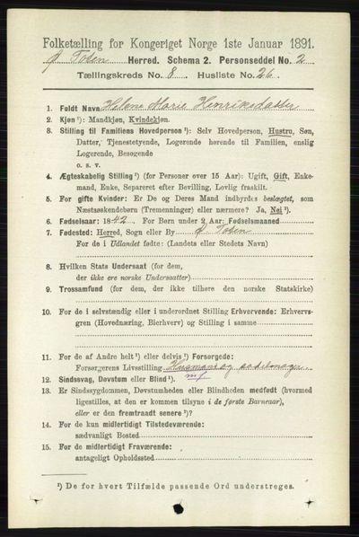 Image from object titled Folketelling 1891 - Østre Toten - personsedler - side 5156
