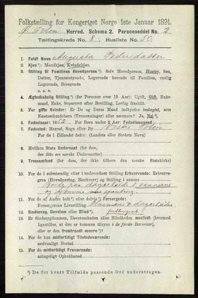 Image from object titled Folketelling 1891 - Østre Toten - personsedler - side 5307
