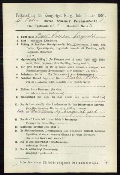 Image from object titled Folketelling 1891 - Østre Toten - personsedler - side 5391