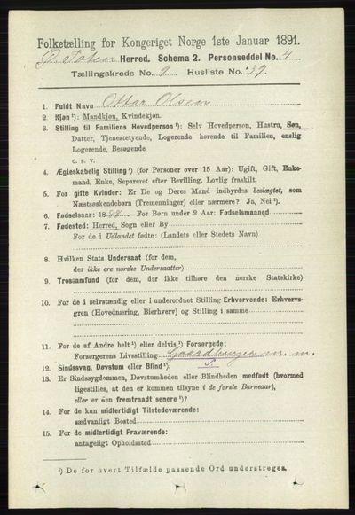 Image from object titled Folketelling 1891 - Østre Toten - personsedler - side 5871