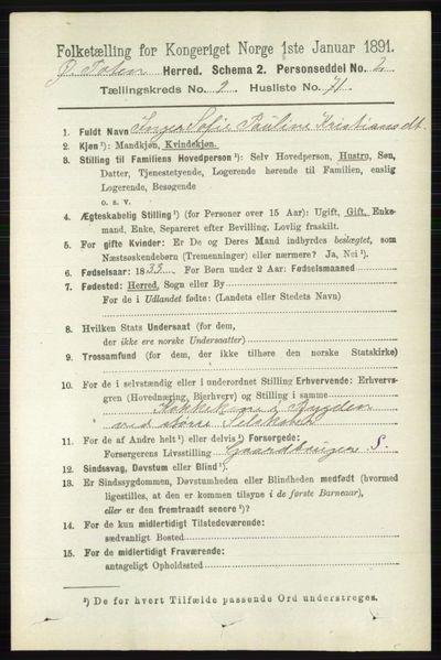Image from object titled Folketelling 1891 - Østre Toten - personsedler - side 6041