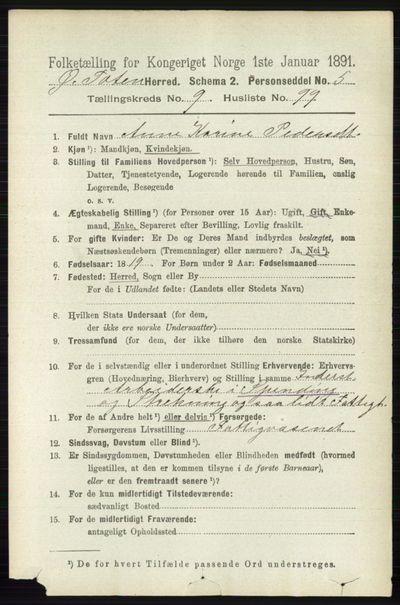 Image from object titled Folketelling 1891 - Østre Toten - personsedler - side 6197