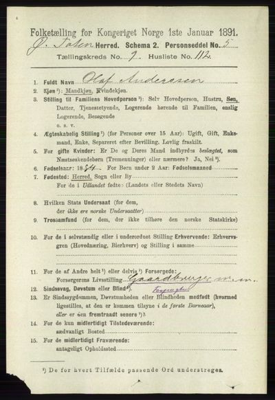 Image from object titled Folketelling 1891 - Østre Toten - personsedler - side 6262