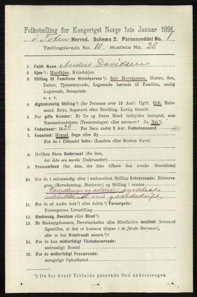 Image from object titled Folketelling 1891 - Østre Toten - personsedler - side 6489