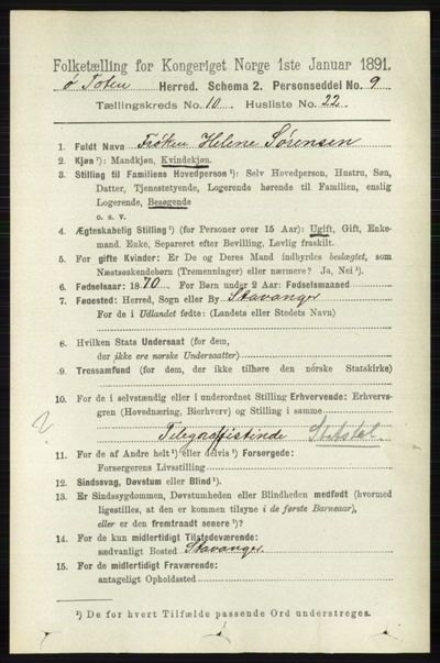 Image from object titled Folketelling 1891 - Østre Toten - personsedler - side 6505