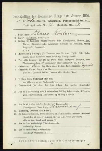 Image from object titled Folketelling 1891 - Østre Toten - personsedler - side 6693