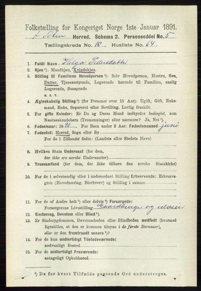 Image from object titled Folketelling 1891 - Østre Toten - personsedler - side 6750