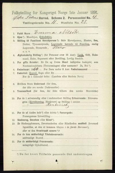 Image from object titled Folketelling 1891 - Østre Toten - personsedler - side 7107