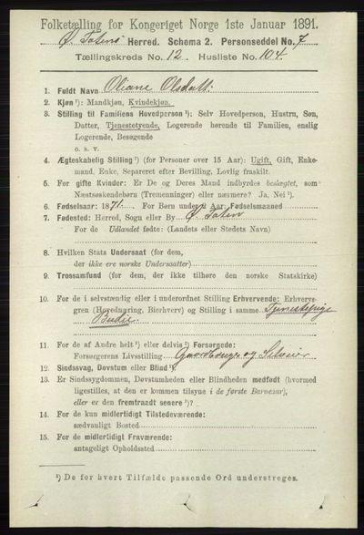 Image from object titled Folketelling 1891 - Østre Toten - personsedler - side 8309
