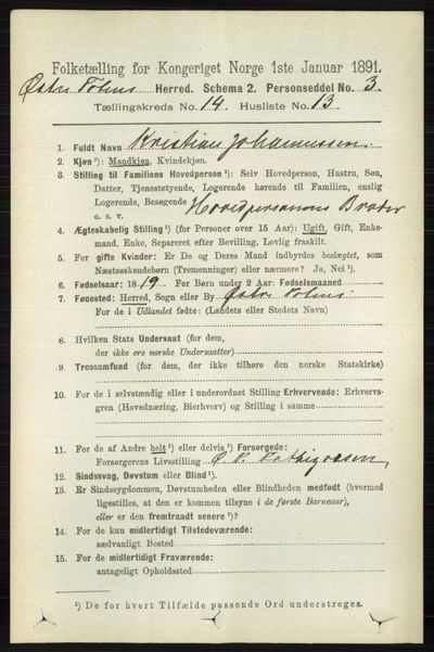 Image from object titled Folketelling 1891 - Østre Toten - personsedler - side 9127