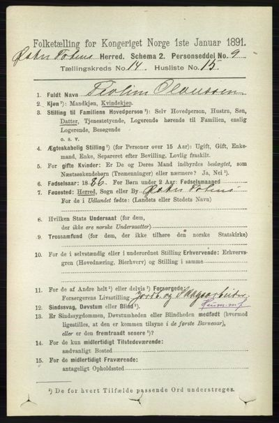 Image from object titled Folketelling 1891 - Østre Toten - personsedler - side 9143