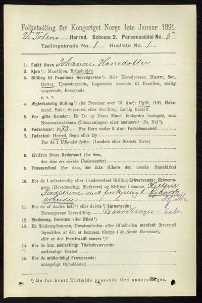 Image from object titled Folketelling 1891 - Vestre Toten - personsedler - side 192