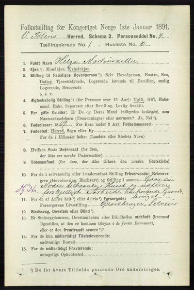 Image from object titled Folketelling 1891 - Vestre Toten - personsedler - side 254