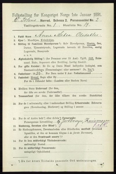 Image from object titled Folketelling 1891 - Vestre Toten - personsedler - side 280
