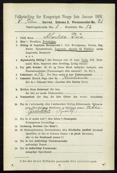 Image from object titled Folketelling 1891 - Vestre Toten - personsedler - side 601