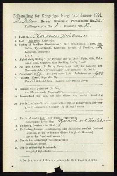 Image from object titled Folketelling 1891 - Vestre Toten - personsedler - side 906