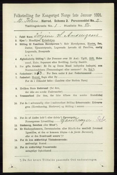 Image from object titled Folketelling 1891 - Vestre Toten - personsedler - side 932