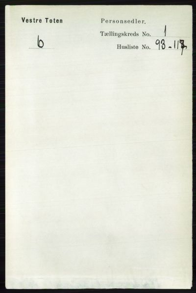 Image from object titled Folketelling 1891 - Vestre Toten - personsedler - side 970