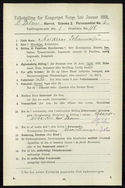 Image from object titled Folketelling 1891 - Vestre Toten - personsedler - side 1145