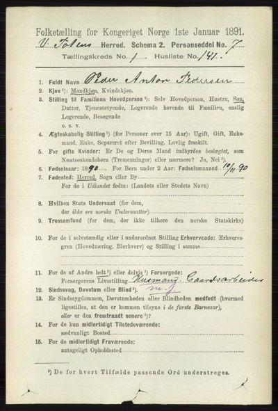 Image from object titled Folketelling 1891 - Vestre Toten - personsedler - side 1265
