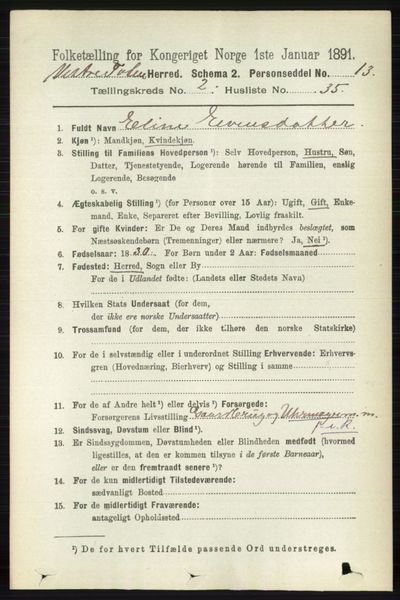 Image from object titled Folketelling 1891 - Vestre Toten - personsedler - side 1629