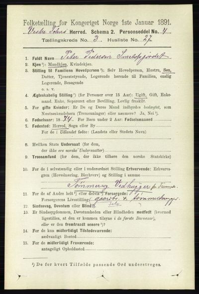 Image from object titled Folketelling 1891 - Vestre Toten - personsedler - side 2128