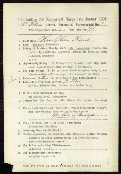 Image from object titled Folketelling 1891 - Vestre Toten - personsedler - side 2379