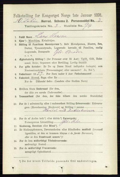 Image from object titled Folketelling 1891 - Vestre Toten - personsedler - side 2467