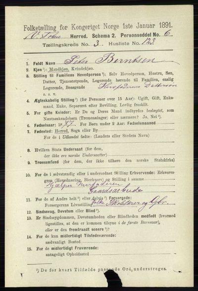 Image from object titled Folketelling 1891 - Vestre Toten - personsedler - side 2625