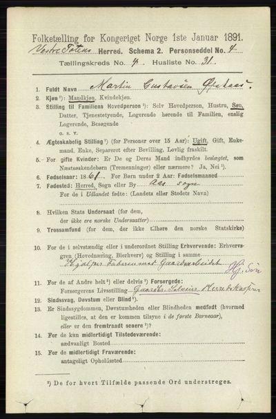 Image from object titled Folketelling 1891 - Vestre Toten - personsedler - side 2880
