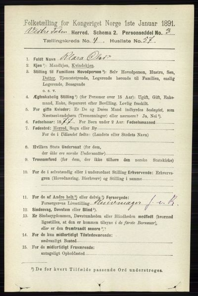 Image from object titled Folketelling 1891 - Vestre Toten - personsedler - side 3049