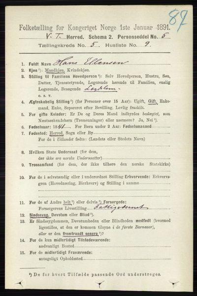 Image from object titled Folketelling 1891 - Vestre Toten - personsedler - side 3271