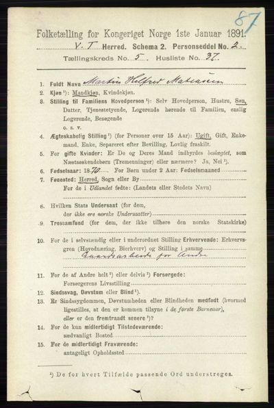 Image from object titled Folketelling 1891 - Vestre Toten - personsedler - side 3410