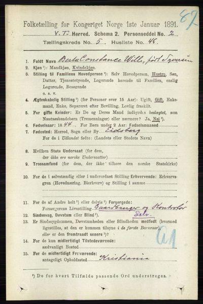 Image from object titled Folketelling 1891 - Vestre Toten - personsedler - side 3457