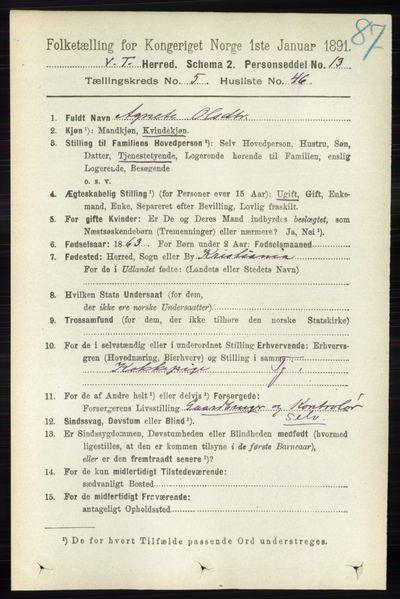 Image from object titled Folketelling 1891 - Vestre Toten - personsedler - side 3468