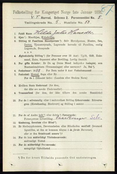 Image from object titled Folketelling 1891 - Vestre Toten - personsedler - side 3501