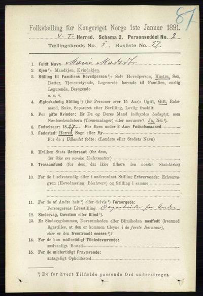 Image from object titled Folketelling 1891 - Vestre Toten - personsedler - side 3528